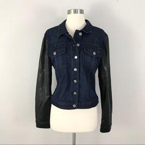 Kut From The Kloth XL Denim Leather Jean Jacket